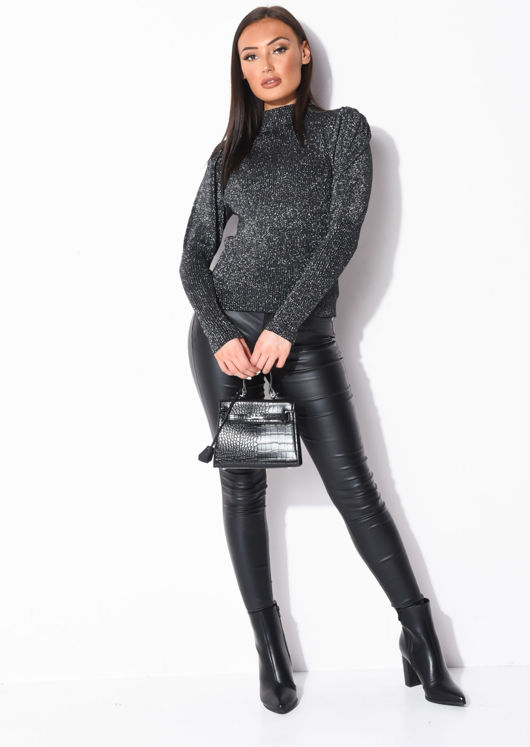 Metallic Ribbed Knit High Neck Jumper Top Black