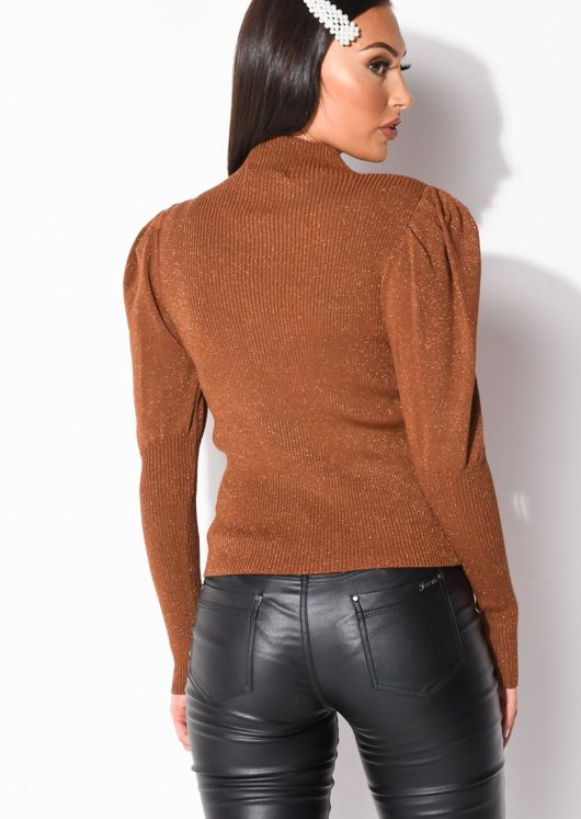 Metallic Ribbed Knit High Neck Jumper Top Brown
