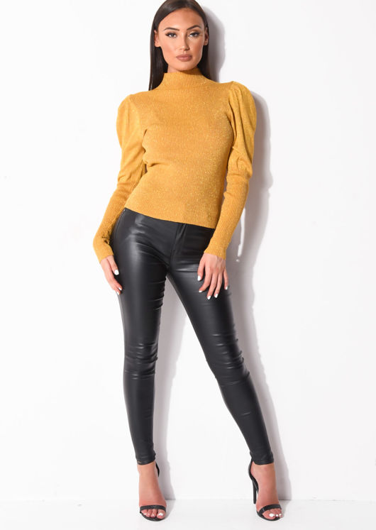 Metallic Ribbed Knit High Neck Jumper Top Yellow
