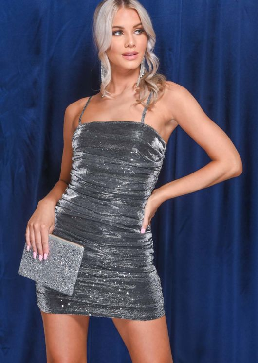 Metallic Sequin Strappy Ruched Side Bodycon Dress Silver
