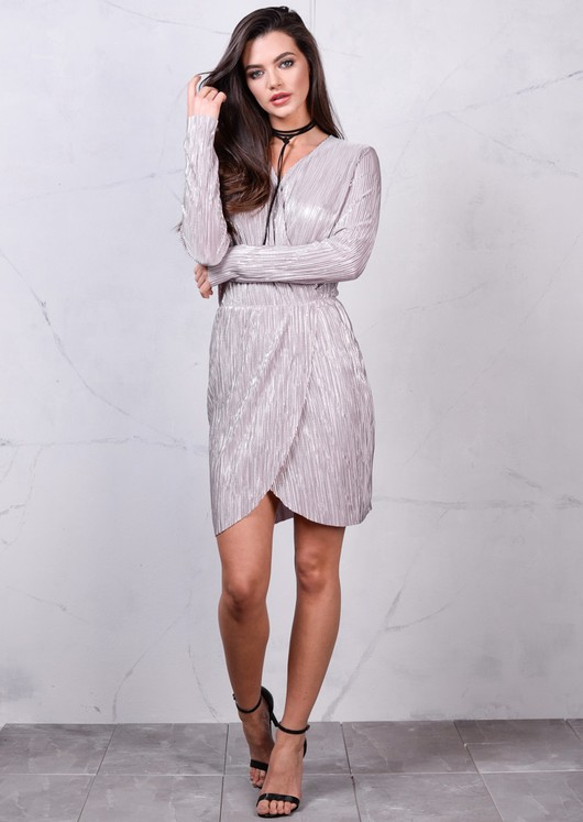 Metallic Silver Pleated Wrap Over Shimmer Midi Dress Pink