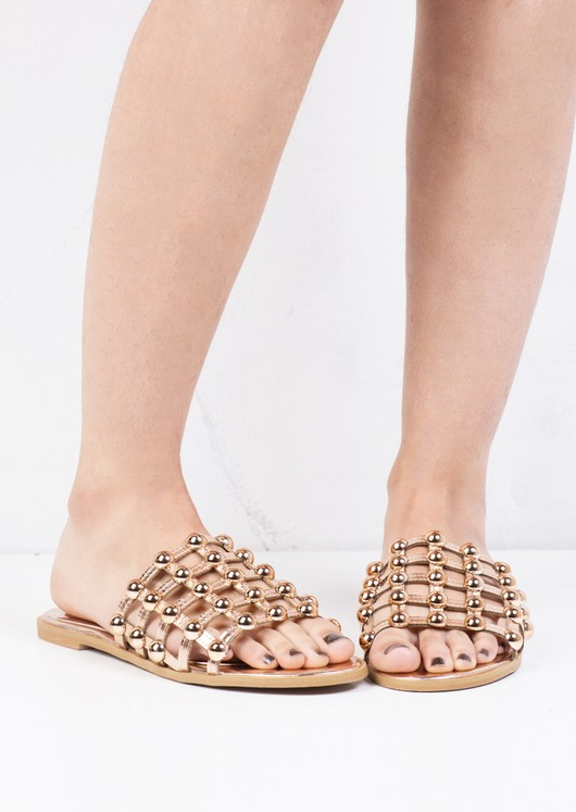 Metallic Studded Caged Sliders Rose Gold