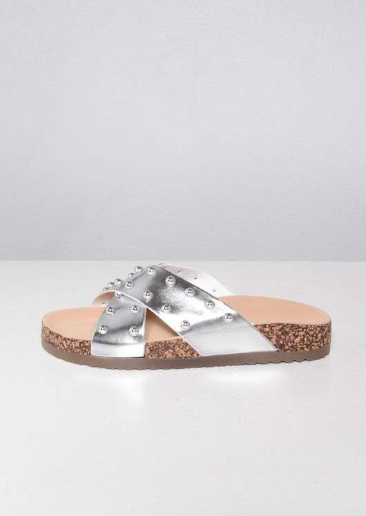 Metallic Studded Cross Strap Sliders Silver