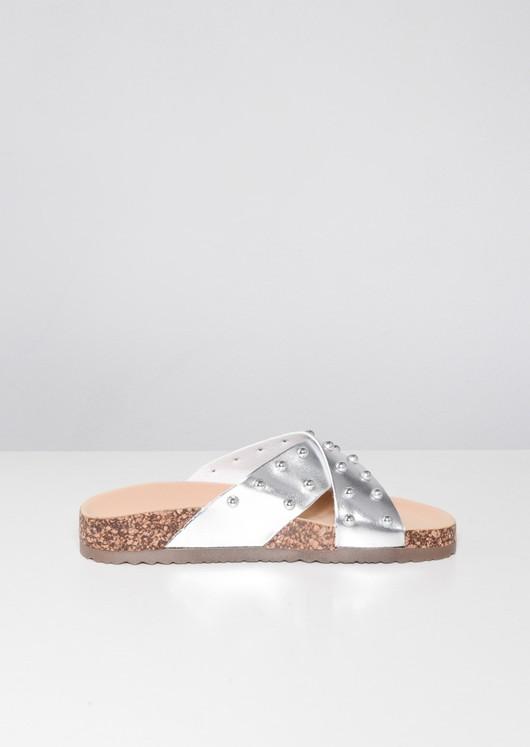 Metallic Studded Cross Strap Sliders Silver