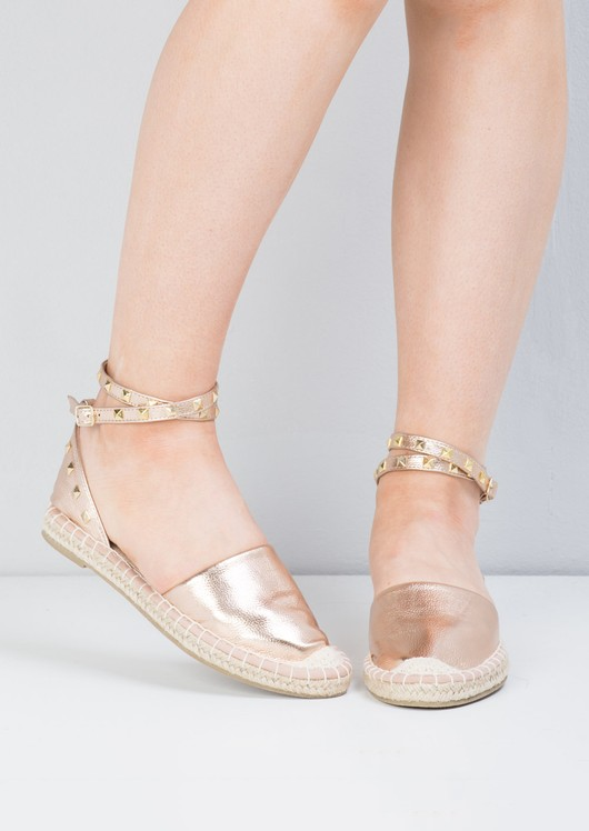 Metallic Studded Espadrille Flats Rose Gold