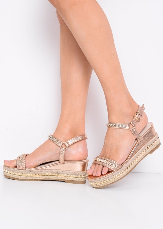 Metallic Studded Espadrille Wedge Heel Sandals Gold