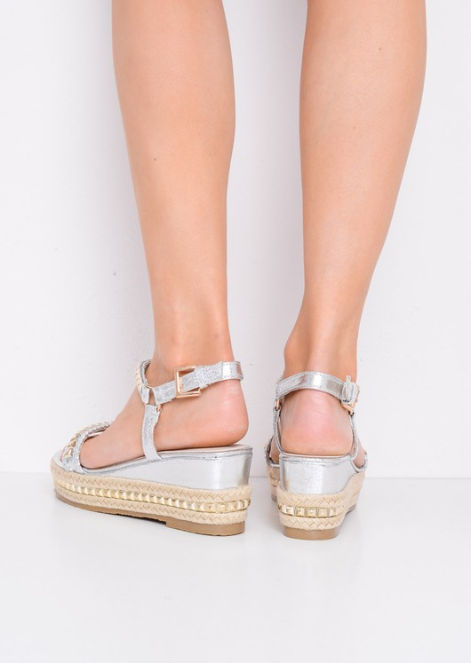 Metallic Studded Espadrille Wedge Heel Sandals Silver