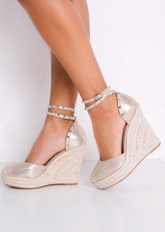 Metallic Studded Strap Espadrille Wedge Sandals Gold