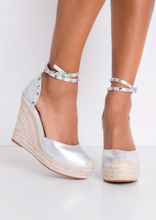 Metallic Studded Strap Espadrille Wedge Sandals Silver