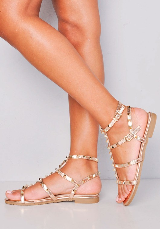Metallic Studded Strappy Gladiator Sandals Flats Gold