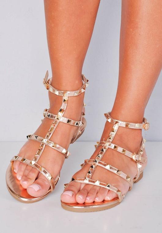 e103e93cc48e Metallic Studded Strappy Gladiator Sandals Flats Gold