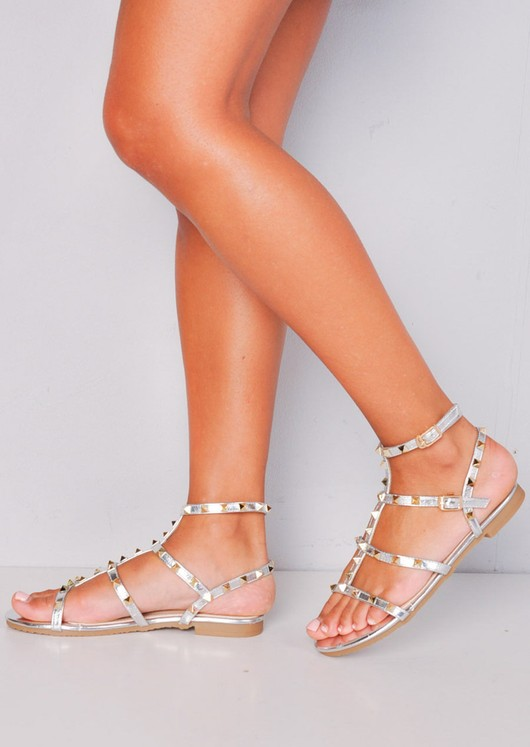 a6fd6ce3ade8 Metallic Studded Strappy Gladiator Sandals Flats Silver