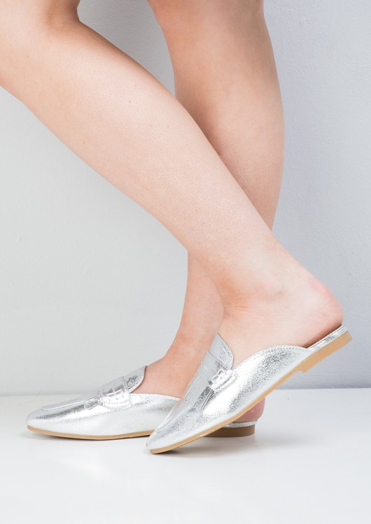 Metallic Tassel Slip On Backless Loafers Silver