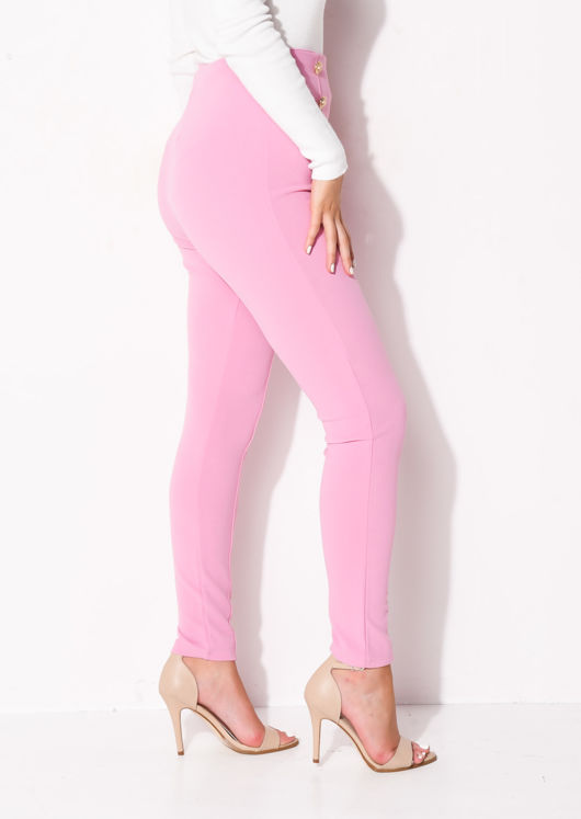 Military High Waisted Button Slim Leg Trousers Pink