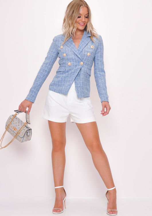 Military Style Blazer Jacket White Check Tweed Blue