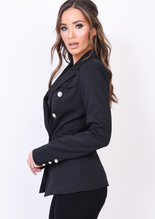 Military Style Tailored Blazer Jacket Black