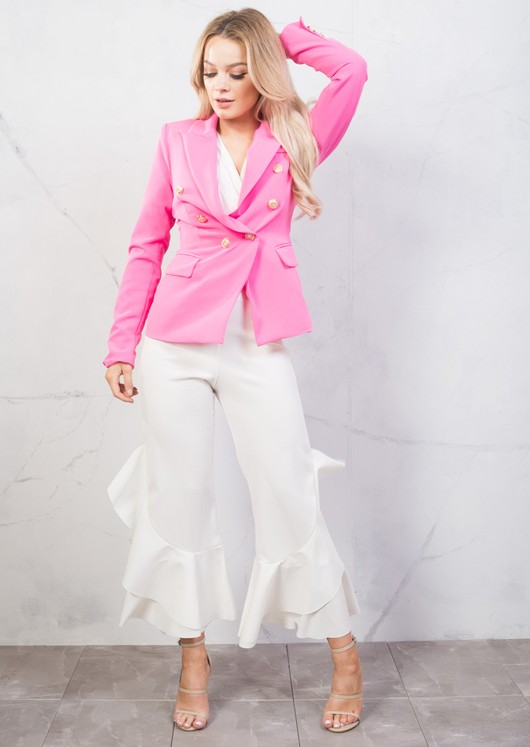 Military Style Tailored Blazer Jacket Fuchsia Pink
