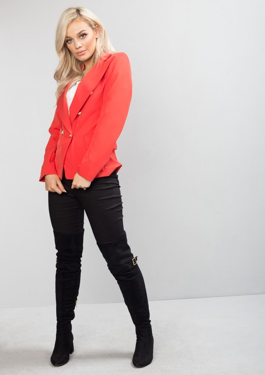Military Style Tailored Blazer Jacket Coral Red