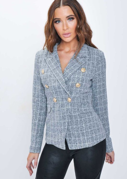 Military Style Tailored Blazer Jacket White Check Tweed Grey