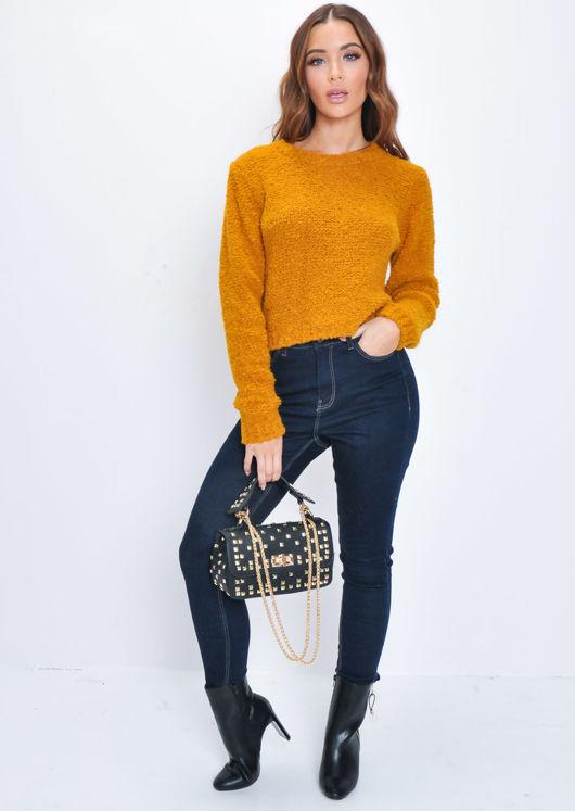 Textured Wool Cropped Jumper Orange