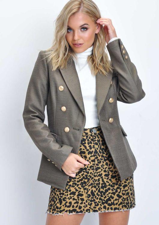 Military Style Tailored Button Blazer Jacket Khaki Brown