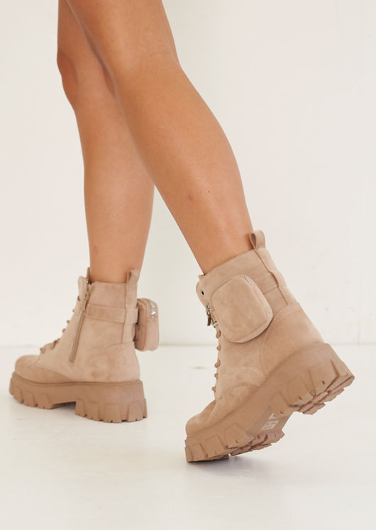 Suede Buckle Belted Pouch Side Lace Up Chunky Ankle Boots Beige