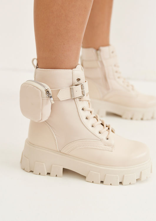 Pu Buckle Belted Pouch Side Lace Up Chunky Ankle Boots Beige