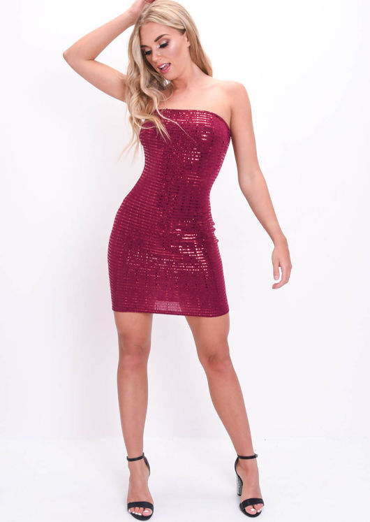 Mirrored Sequin Strapless Bodycon Dress Burgundy Red