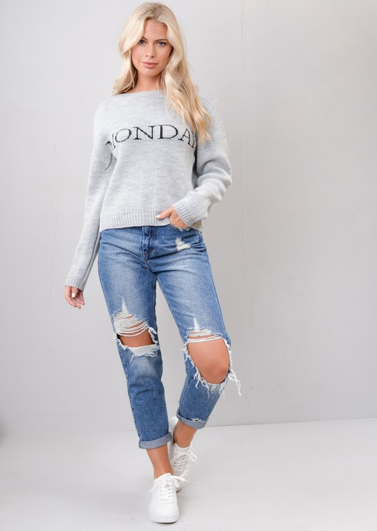 Monday Slogan Knitted Jumper Grey