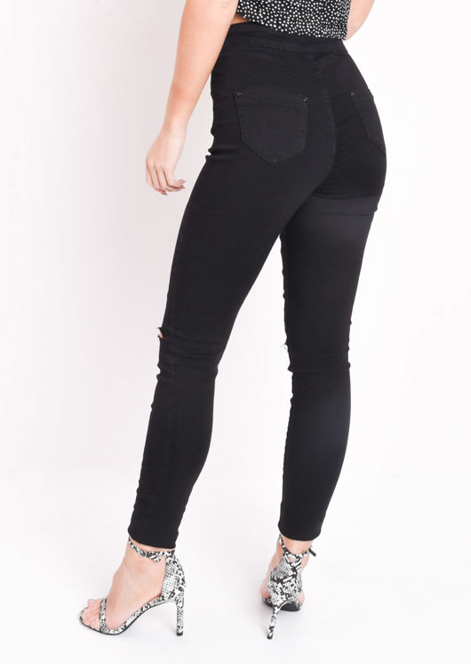 High Waisted Knee Ripped Tube Super Skinny Jeans Black