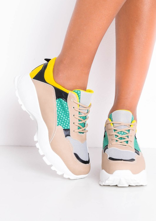 Multi Block Colour Chunky Trainers Beige