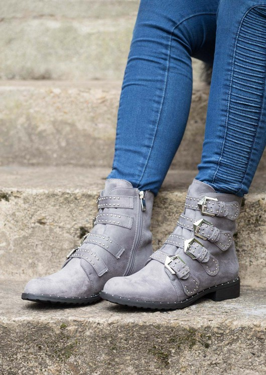 Multi Buckles Pin Studded Ankle Boot Grey