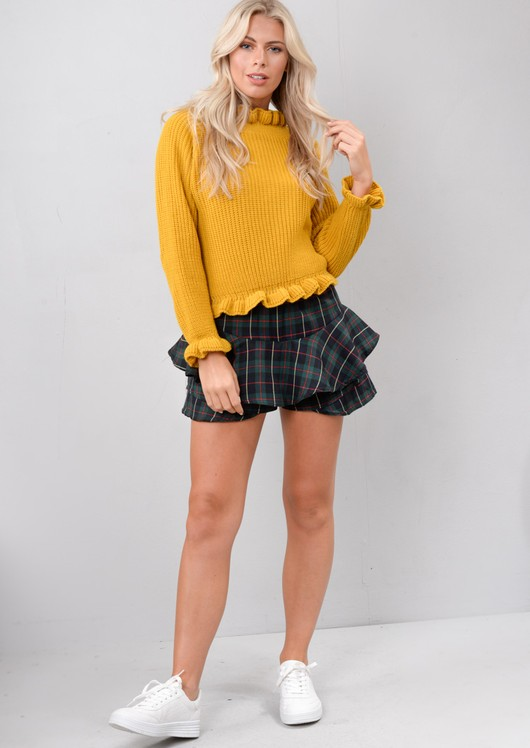 Multi Check Tartan Frill Mini Skort Green