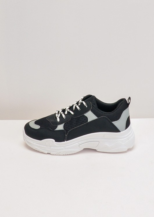 Multi Colour Lace Up Chunky Trainers Black