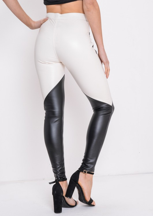 Multi Colour PU Trousers White