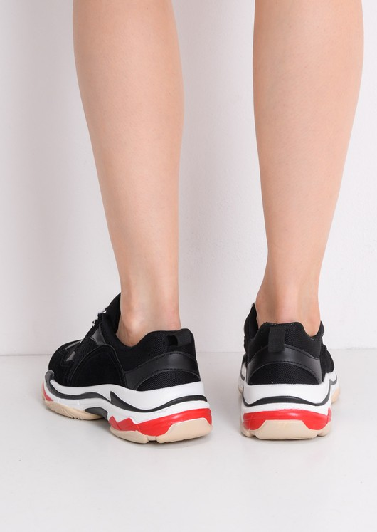Multi Panel Chunky Trainers Black