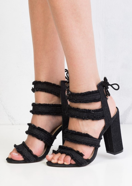 Multi Straps Distressed Denim Block Heel Sandals Black