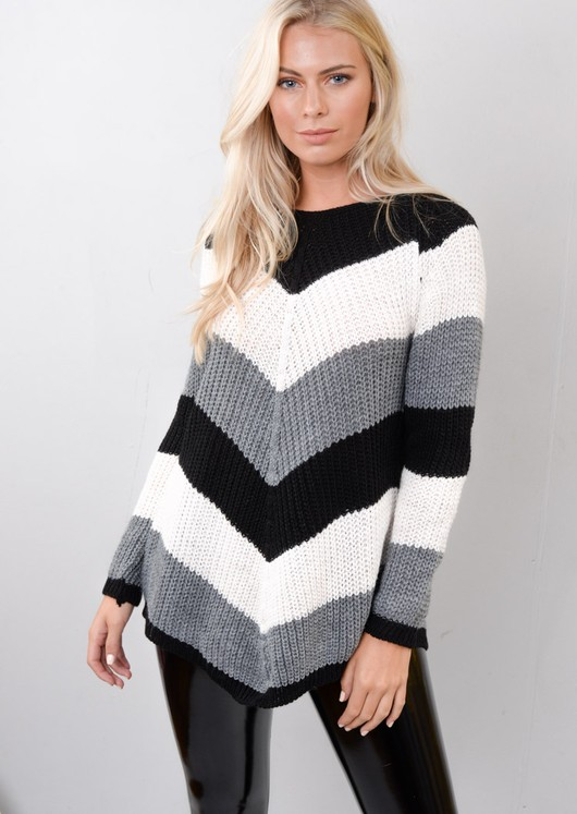 Chevron Stripe Knitted Sweater Jumper Black