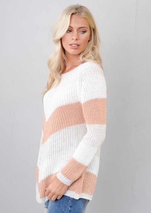 Chevron Stripe Knitted Sweater Jumper Pink
