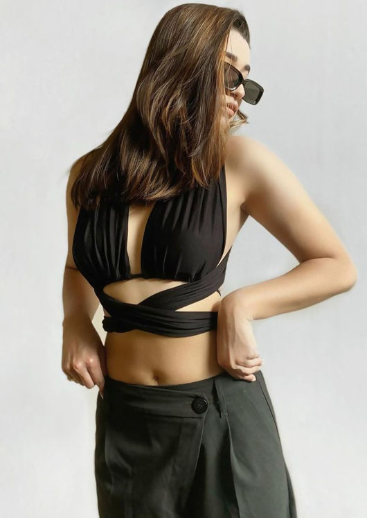 Multiway Elasticated Front Back Tie Wrap Over Crop Top Black