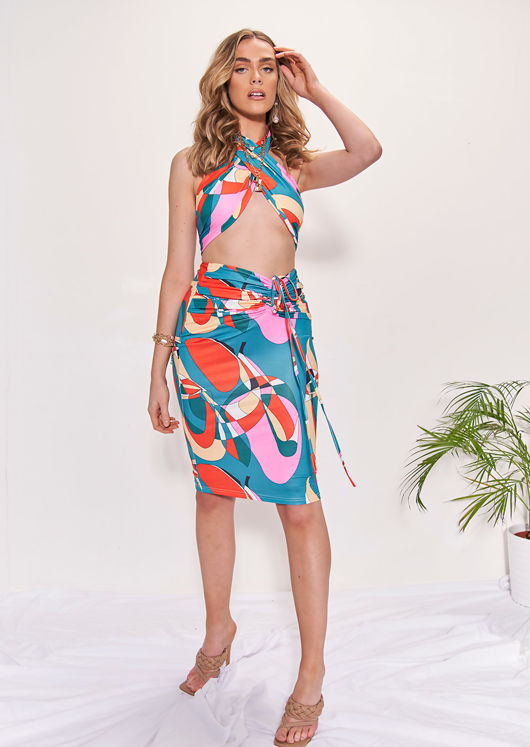 Multiway Geometric Halterneck Crop Top And Front Ruched Midi Skirt Co-Ord Set Multi