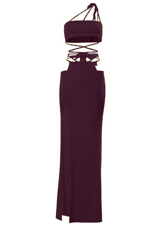 Multiway Strap Crop Top And Side Cut Out Maxi Skirt Co-Ord Set Red