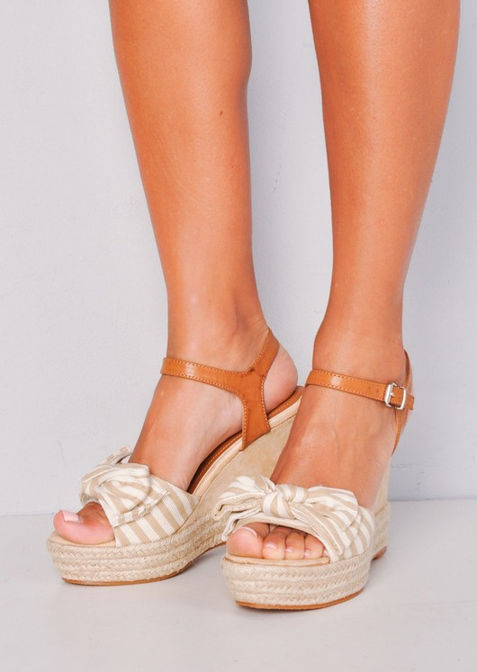 Nautical Bow Stripe Braided Cork Espadrille Wedge Sandals Beige