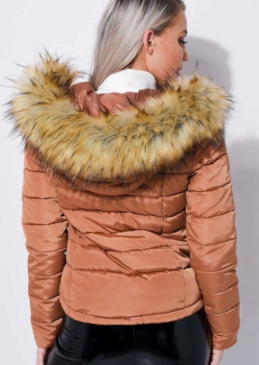 Padded Faux Fur Hooded Quilted Puffer Coat Brown