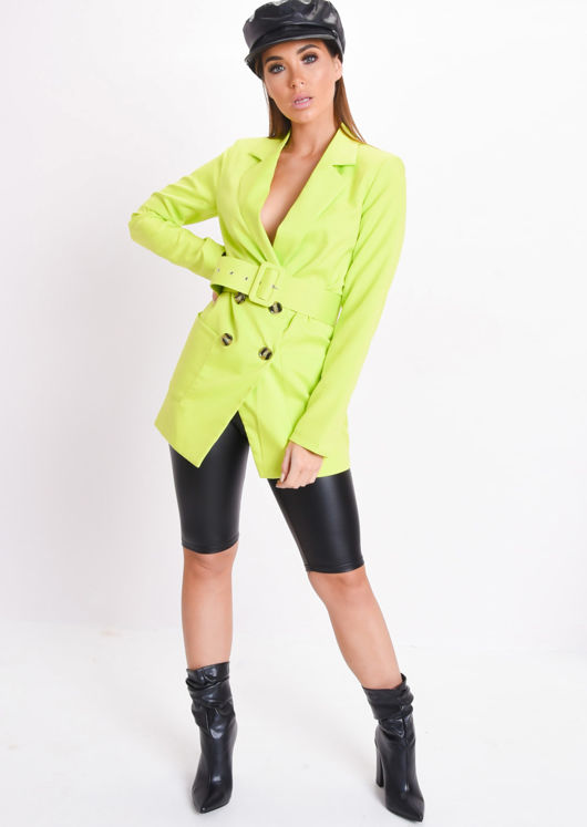 Neon Belted Double Breasted Blazer Mini Dress Green