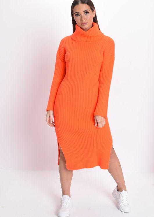 Neon Knit Roll Neck Midi Dress Orange