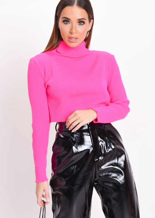 Neon Roll Neck Long Sleeve Knit Crop Top Pink