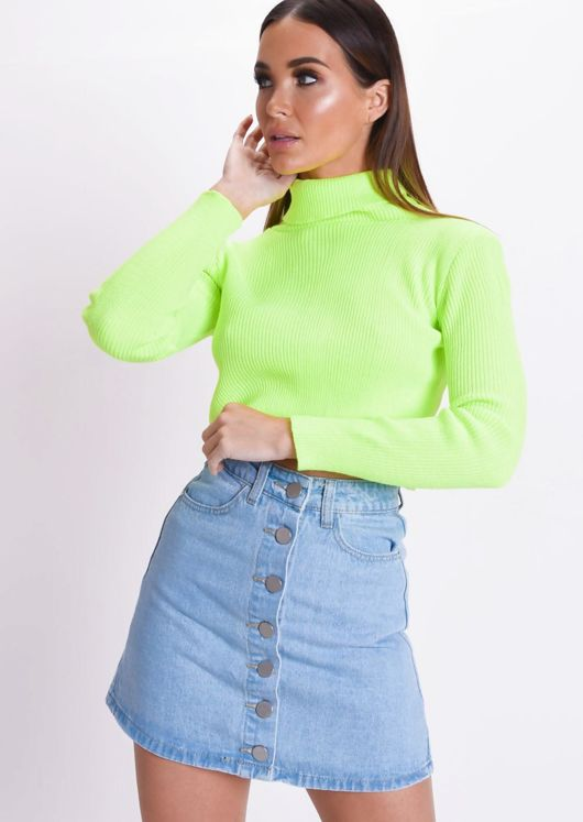 faae3fef7c3 Neon Roll Neck Long Sleeve Knit Crop Top Yellow | Lily Lulu