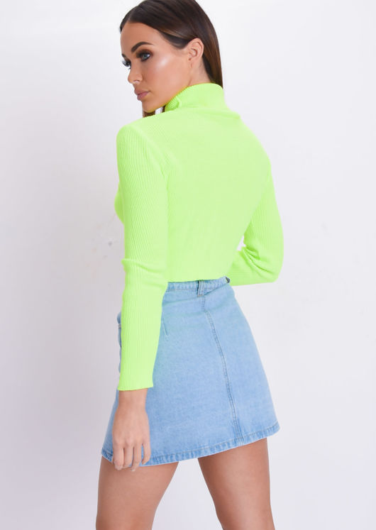 Neon Roll Neck Long Sleeve Knit Crop Top Yellow