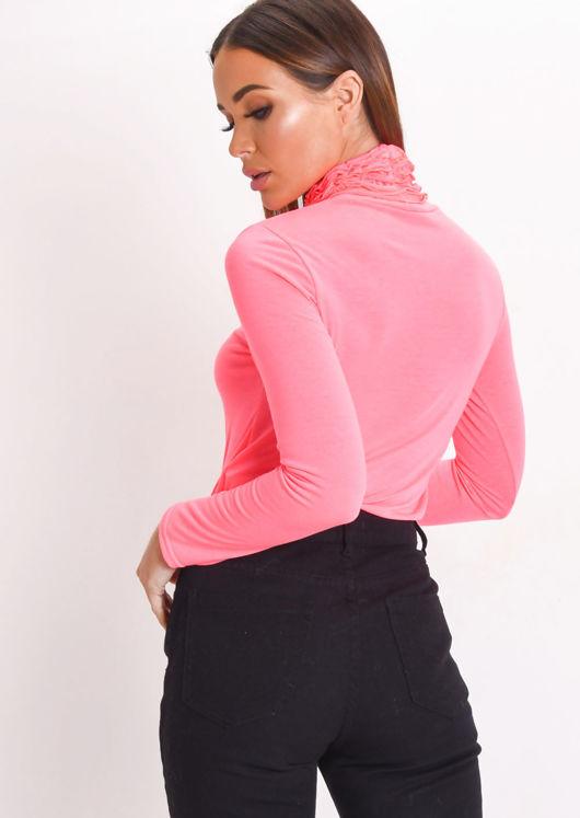 Neon Ruched Turtleneck Long Sleeve Jersey Top Pink